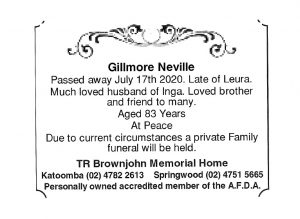 Mr Neville Gillmore Funeral Notice