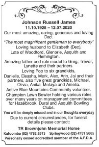 Mr Russell Johnson funeral notice